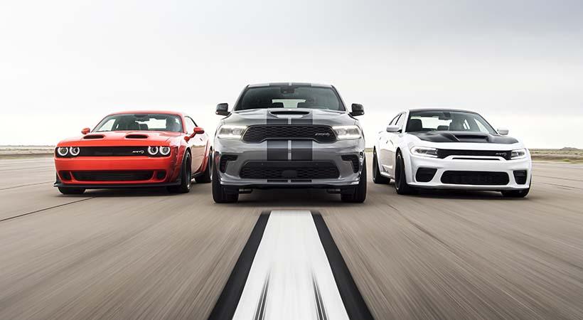 Dodge//SRT Performance Lineup: 2020 Challenger SRT Super Stock, 2021 Durango SRT Hellcat, 2021 Charger SRT Hellcat Redeye