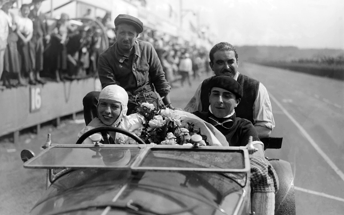 Odette Siko in an Alfa Romeo 6C 1750 at Le Mans, 1932.