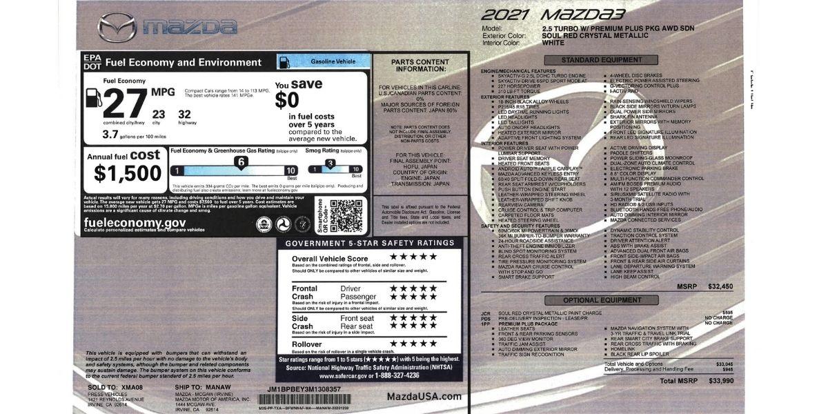 Mazda3 Sedán 2.5 Turbo 2021